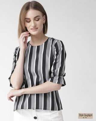 Shop Style Quotient Women Grey & Black Striped Top-Front