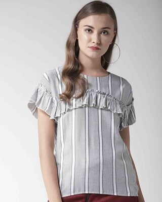 Shop Style Quotient Women Grey & White Striped Top-Front