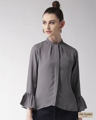 Shop Style Quotient Women Grey Regular Fit Solid Casual Shirt-Front
