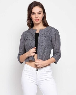 Shop Style Quotient Women Grey Self Design Open Front Shrug-Front