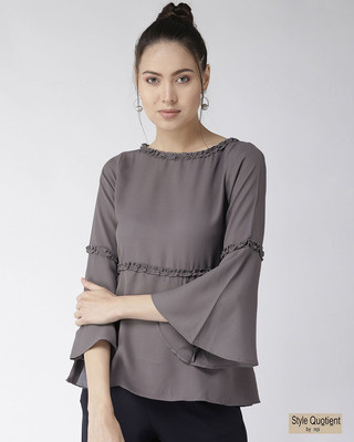 Shop Style Quotient Women Grey Solid A-Line Top-Front