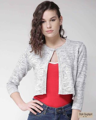 Shop Style Quotient Women Grey Solid Button Crop Shrug-Front