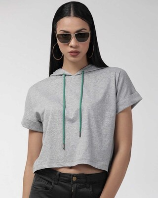 Shop Style Quotient Women Grey Solid Hooded Sweatshirt-Front