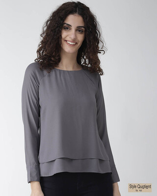 Shop Style Quotient Women Grey Solid Layered High-Low Top-Front
