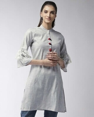 Shop Style Quotient Women Grey Solid Straight Kurta-Front