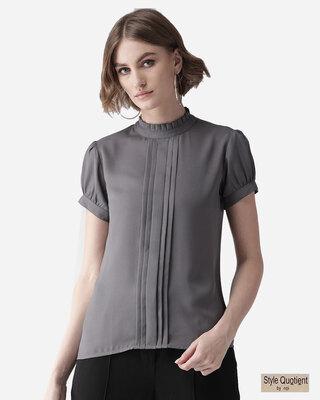 Shop Style Quotient Women Grey Solid Top-Front