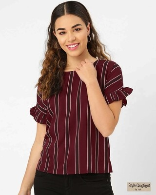 Shop Style Quotient Women Maroon & Black Striped Top-Front