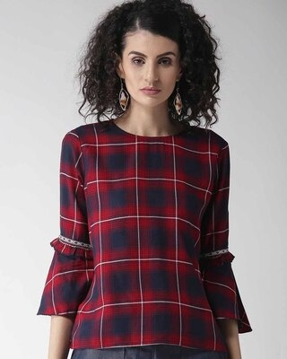 Shop Style Quotient Women Maroon & Navy Blue Checked Top-Front