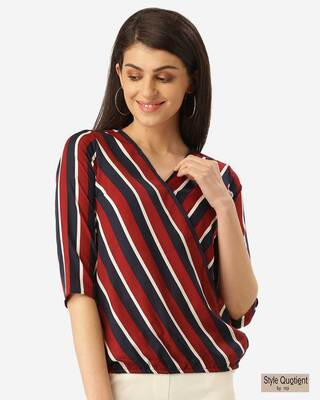 Shop Style Quotient Women Maroon & Navy Blue Striped Blouson Top-Front