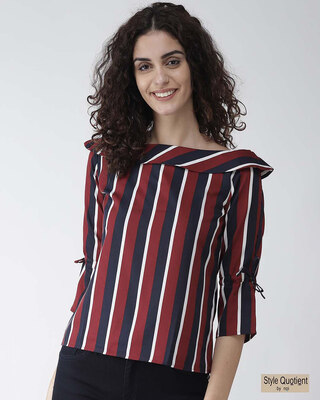 Shop Style Quotient Women Maroon & Navy Blue Striped Top-Front