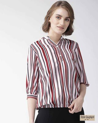 Shop Style Quotient Women Maroon & White Striped Shirt Style Top-Front