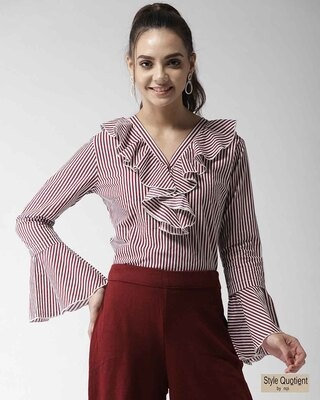 Shop Style Quotient Women Maroon & White Striped Top-Front