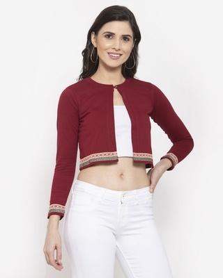 Shop Style Quotient Women Maroon Black Crop Shrug-Front