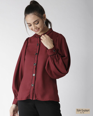 Shop Style Quotient Women Maroon New Fit Solid Casual Shirt-Front