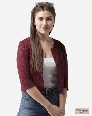 Shop Style Quotient Women Maroon Self Design Open Front Shrug-Front