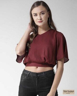 Shop Style Quotient Women Maroon Solid Crop Blouson Top-Front