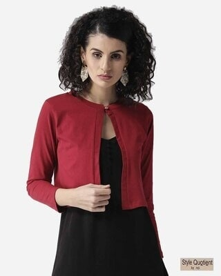 Shop Style Quotient Women Maroon Solid Crop Button Shrug-Front