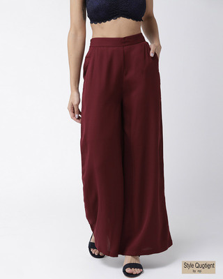 Shop Style Quotient Women Maroon Solid Flared Palazzos-Front