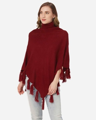 Shop Style Quotient Women Maroon Solid Poncho-Front
