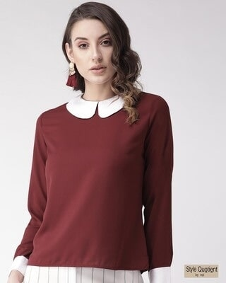 Shop Style Quotient Women Maroon Solid Regular Top-Front