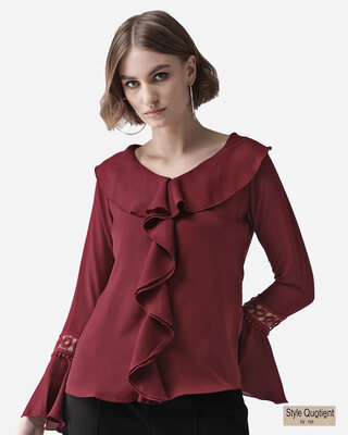 Shop Style Quotient Women Maroon Solid Ruffled Top-Front