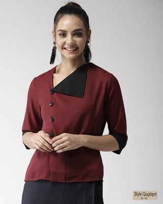 Shop Style Quotient Women Maroon Solid Shirt Style Top-Front