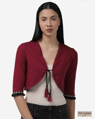 Shop Style Quotient Women Maroon Solid Tie-Up Crop Shrug-Front