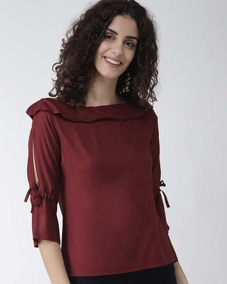 Shop Style Quotient Women Maroon Solid Top-Front