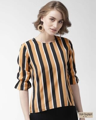 Shop Style Quotient Women Mustard Brown & Black Striped Top-Front