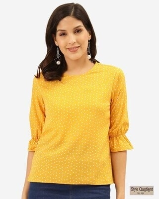 Shop Style Quotient Women Mustard Yellow & White Polka Dot Print Regular Top -Front