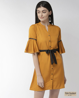Shop Style Quotient Women Mustard Yellow Solid A-Line Dress Women's Mustard Yellow Solid A-Line Dress-Front