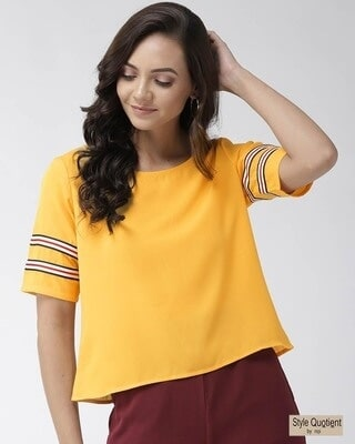 Shop Style Quotient Women Mustard Yellow Solid Boxy Top-Front