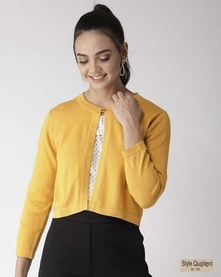 Shop Style Quotient Women Mustard Yellow Solid Front-Open Sweater-Front