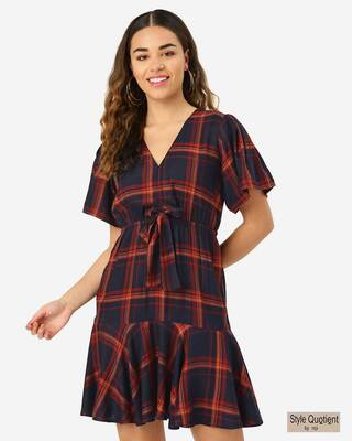 Shop Style Quotient Women Navy & Rust Red Checked A-Line Dress-Front