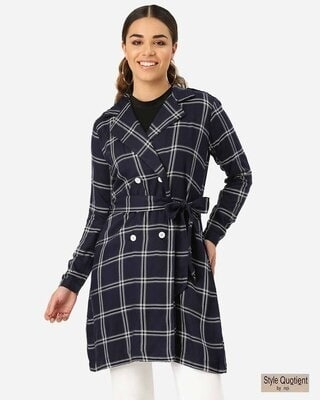 Shop Style Quotient Women Navy Blue & Off-White Checked Longline Tailored Jacket-Front