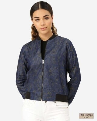 Shop Style Quotient Women Navy Blue & Olive Green Printed Bomber Jacket-Front