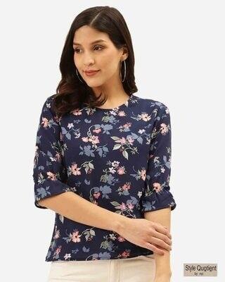 Shop Style Quotient Women Navy Blue & Pink Floral Print Regular Top-Front
