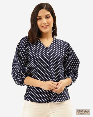 Shop Style Quotient Women Navy Blue & White Chevron Print Regular Top-Front
