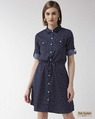 Shop Style Quotient Women Navy Blue & White Printed Shirt Dress-Front