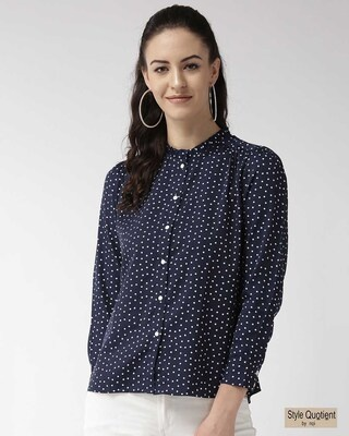 Shop Style Quotient Women Navy Blue & White Regular Fit Printed Casual Shirt-Front