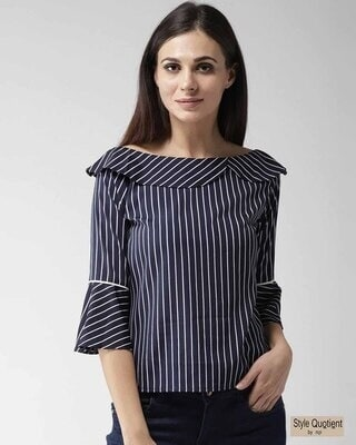 Shop Style Quotient Women Navy Blue & White Striped Top-Front