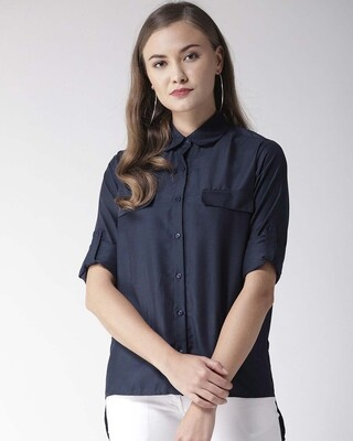 Shop Style Quotient Women Navy Blue Classic Fit Solid Casual Shirt-Front