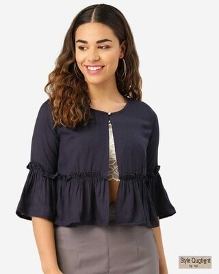 Shop Style Quotient Women Navy Blue Solid Button Shrug-Front