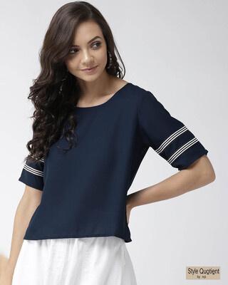 Shop Style Quotient Women Navy Blue Solid Top-Front