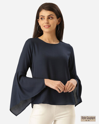 Shop Style Quotient Women Navy Blue Solid Top-Front