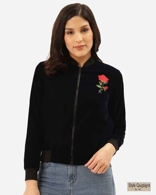 Shop Style Quotient Women Navy Blue Solid Velvet Finish Bomber-Front