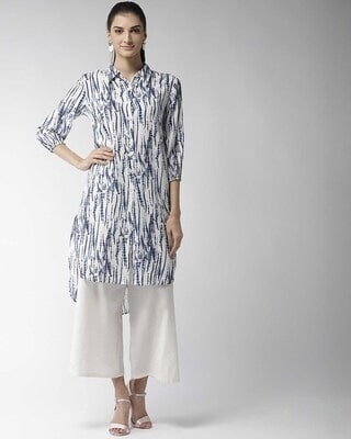 Shop Style Quotient Women Off-White & Blue Dyed Straight Kurta-Front
