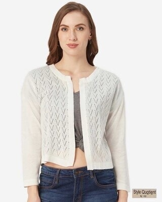 Shop Style Quotient Women Off-White Self Design Open Front Shrug-Front