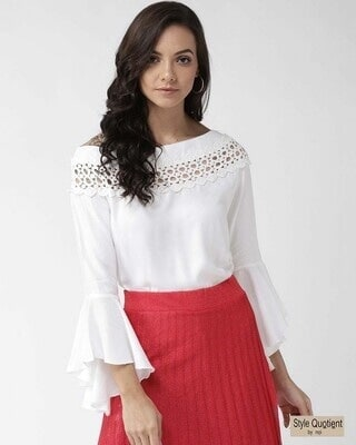 Shop Style Quotient Women Off-White Solid Top-Front