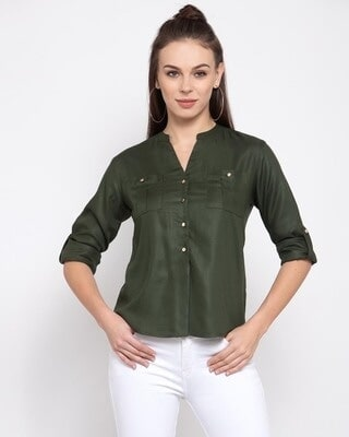 Shop Style Quotient Women Olive Green Boxy Solid Casual Shirt-Front